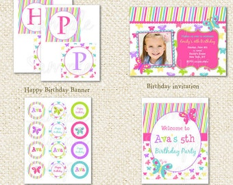 Butterfly - DIY Printable Personalized Birthday Party Package Party Pack