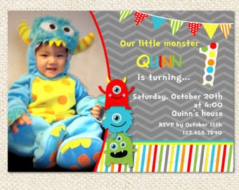 Little Monster Birthday Invitations