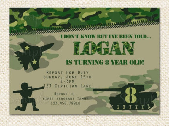 camo military birthday invitations, Birthday invitations