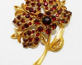 Vintage Florenza Flower Brooch Garnet Red Rhinestones