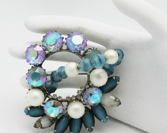 Hobe Vintage Brooch Blue and Pearls