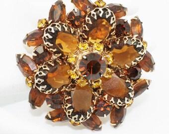 Vintage Brooch Large Dark Amber Rhinestones