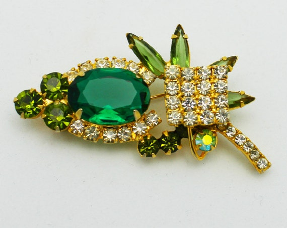 Vintage Juliana Brooch Emerald Green