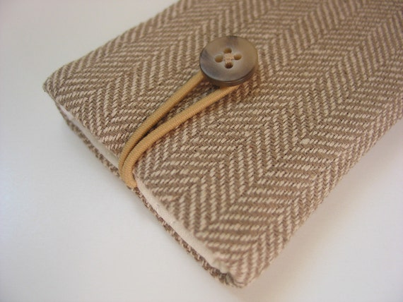 iPod touch 5th Generation cover iPod touch 5th Generation case - tan cream beige ecru brown herringbone pattern linen fabric cloth textile
