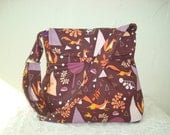 Pleated Hobo Purse, Print by Lizzie House, woodland pattern foxes