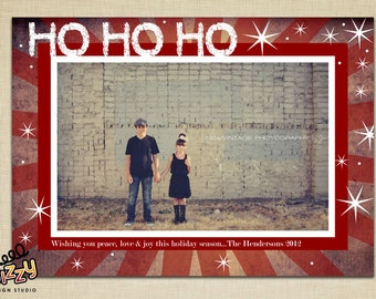 Ho Ho Ho Grunge Holiday Photo Card - DIY PRINTABLE FILE