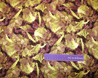 RJR Farmer's Market Packed Red Green Leaf Lettuce Cotton Fabric By The Half Yard