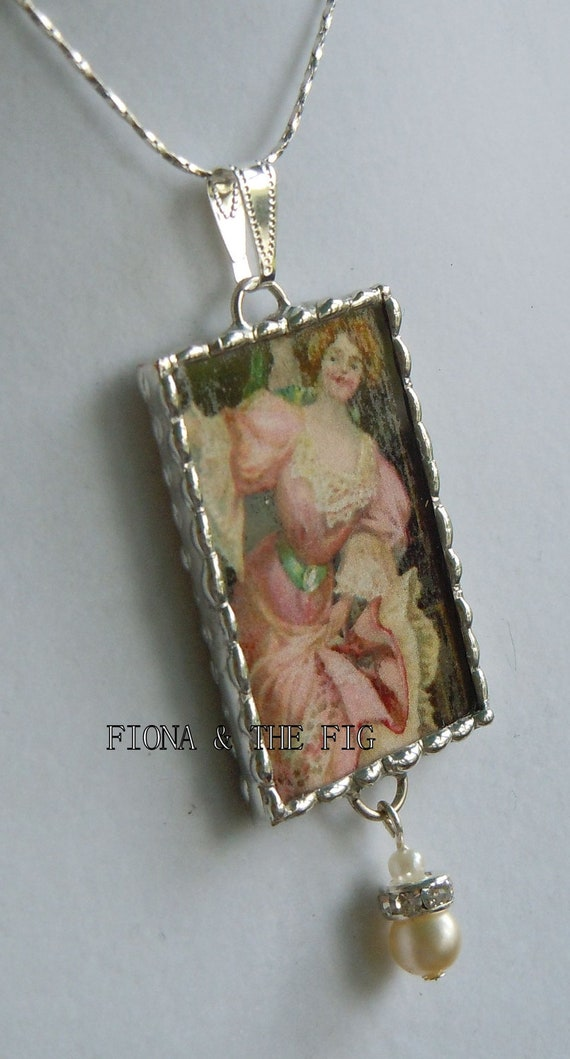 Fiona and The Fig Victorian Lady Double Sided  Charm Necklace Pendant