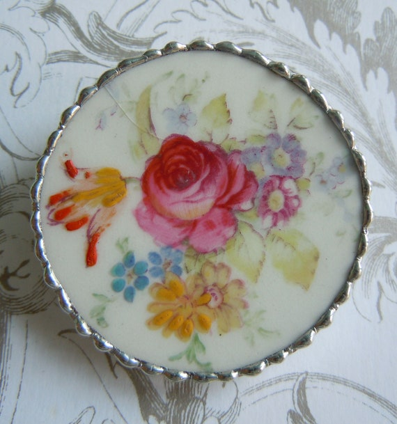 Fiona And The Fig Antique Broken China Brooch Pin Extra Large Size Pretty Flowers