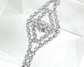 Vintage Rhinestone Bracelet,  Sparkley  Pave Setting in Silver Plate, High End, Art Deco