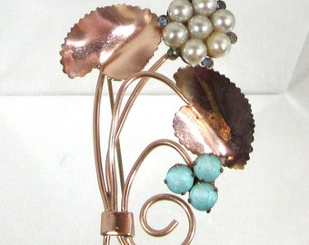 Antique Copper Brooch Pin, Faux Pearls and Blue Rhinestones, Nice
