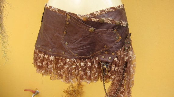 tribal leather mini skirt belt/ with pocket,lace and stud detail....