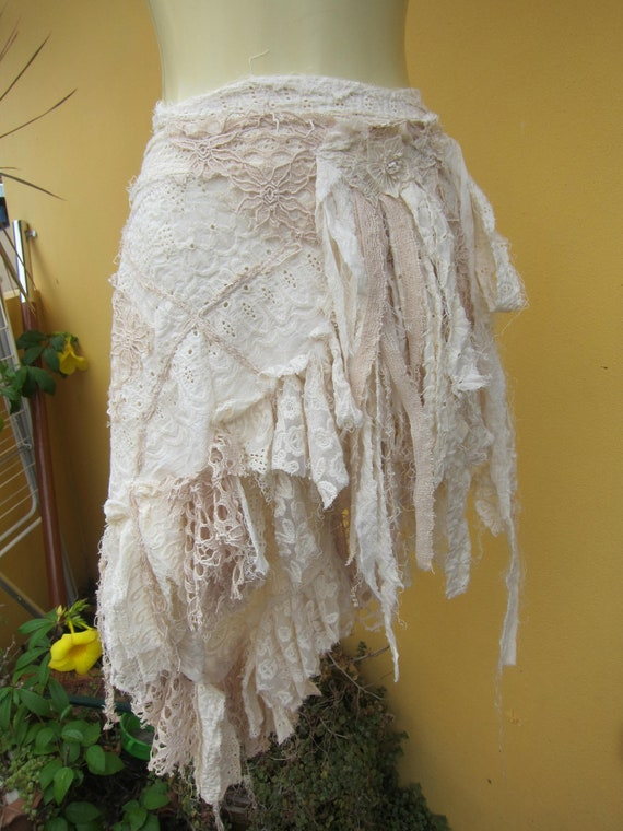 vintage inspired extra shabby cotton wrap skirt...a work of art and love...