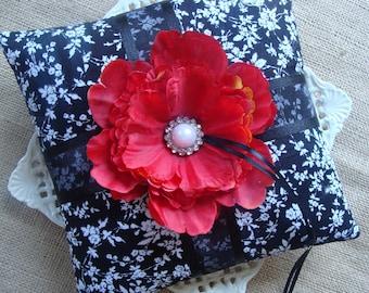 Wedding Ring Bearer Pillow -  Red Peony on Black & White
