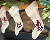 Felt Applique Cardinals Christmas Stocking