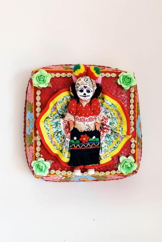 Day of the Dead altered art doll / Dia de los muertos / Rainbow / Bright vivid vibrant