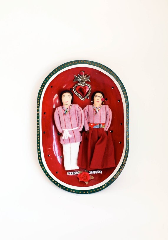 Frida Kahlo and Diego Altered vintage dolls turned into wall decor/ Mexican folk art inspired / Vintage bowl plate / watermelon / art doll