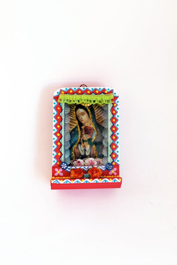 Mexican folk art our lady of guadalupe wooden nicho with shelf for Our lady of guadalupe arts and crafts