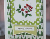 Gift card holder - Merry Christmas with mistletoe, angled banner