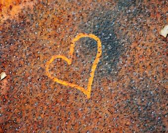 Heart Graffiti, orange, blue, rust, gold, love, 5x5, photograph