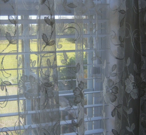Vintage Off White Door Lace Curtain Panel