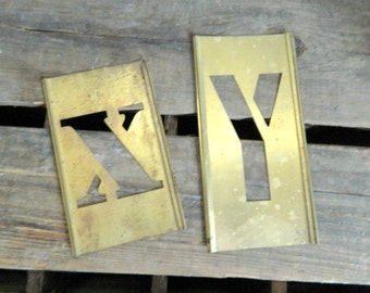 Vintage Brass Stencils Letters X Y  Home Decor Repurpose Alphabet Listing for 1 Letter