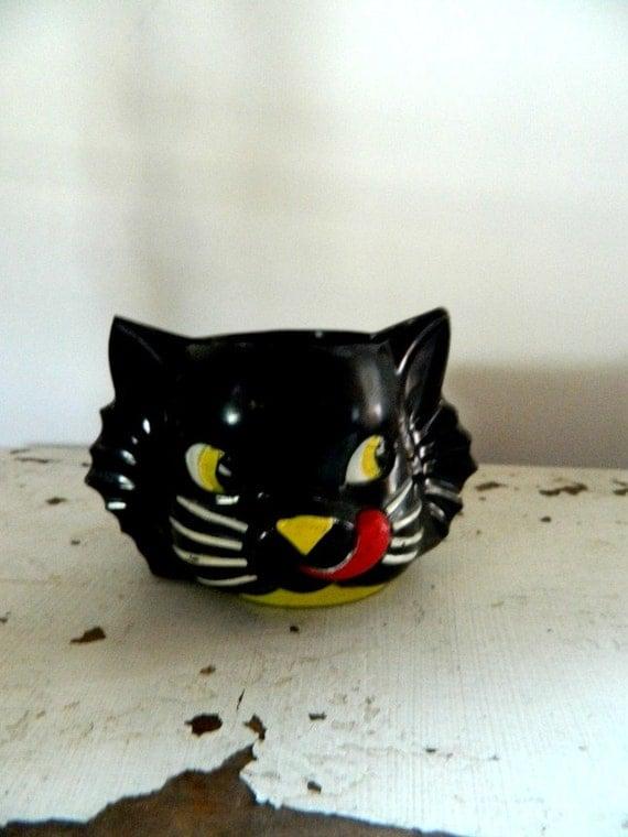 Vintage Black Cat Cup Plastic Halloween Decor Halloween Decoration Candy Cup