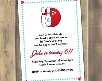 Bowling Party Printable Invitation PDF