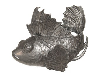 Boucher Fish Clip, Pin / Brooch, Silver, Rare Early MB Phrygian Cap Signed Piece, Late 1930s to Mid 1940s