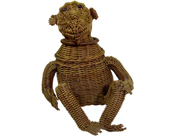 Wicker Monkey Handbag, Highly Collectible, Rare, Vintage 1950s
