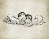 Adorable Vintage Baby Twins LARGE Digital Vintage Image Download Sheet Transfer To Totes Pillows Tea Towels T-Shirts- 86
