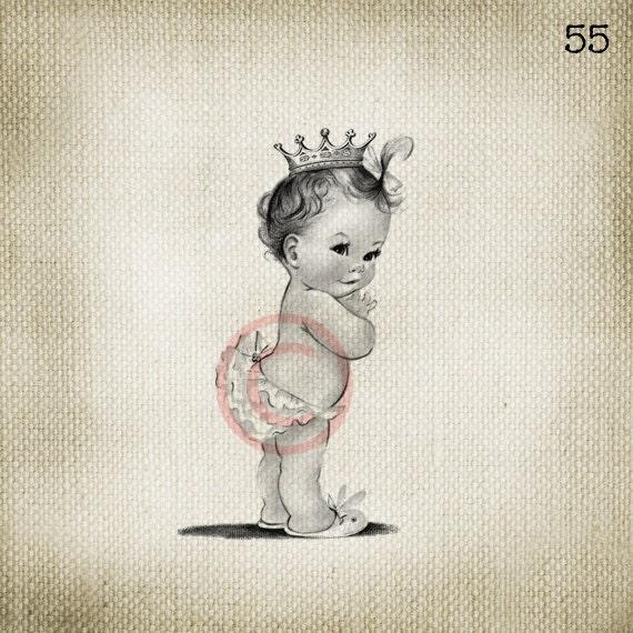 Vintage Baby Girl Princess LARGE Digital Vintage Image Download Sheet Transfer To Totes Pillows Tea Towels T-Shirts