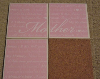 Set of 4-Tile Coasters Mother Love