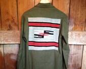 RESERVED Vintage Chimayo Wool Military Shirt Jacket, Mens S M