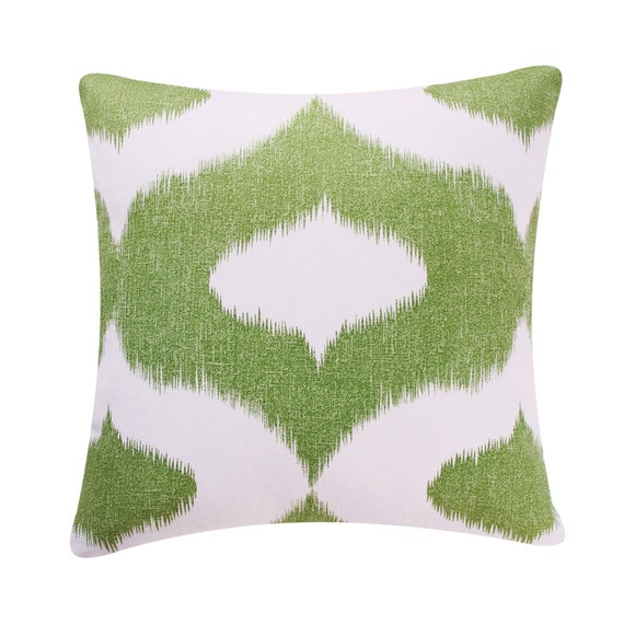 Green Ikat Throw Pillow Cover 18x18 Green by ChloeandOliveDotCom