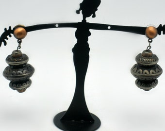 Vintage Primitive Metal Earrings - Rustic 3 Tiered Asian Lamp Design - Copper Toned Beads between tiers with tribal writing - Dark Silver