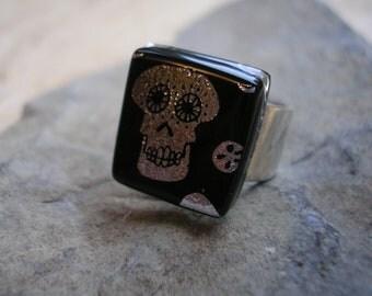 Skull Ring Dichroic Fused Glass  Skull Jewelry