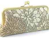 Floral Clutch Evening Bag - Champagne Bronze Flower Handbag - Metal Frame Purse