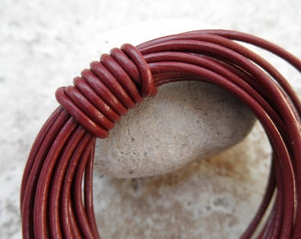 By the Yard - 1.5mm - Leather Cord Round - Corida Red