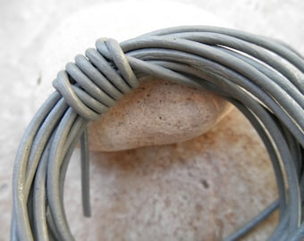 Round Leather Cord - 2 mm - Shimmer - By the Yard