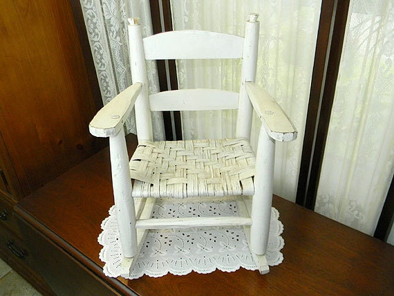 White Wicker And Wood Doll Rocking Chair 8586 By