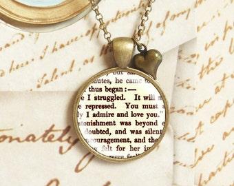 "Pride and Prejudice ""Love"" - Literature Necklace"