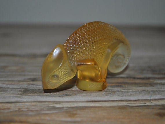 Lalique Cachet Glass Chameleon - Yellow Seal