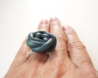 Cocktail Ring. Vintage Blue Knot Button on Wide Silver Adjustable Ring Band. Unique Jewelry
