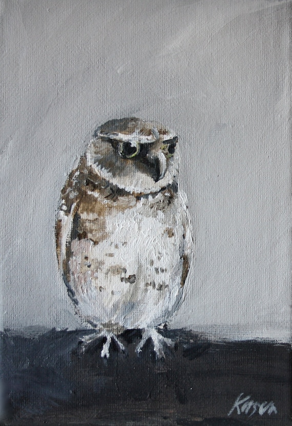 "Owl painting 7"" x 5"""