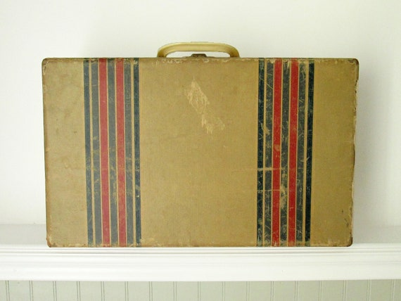Striped Wooden Suitcase
