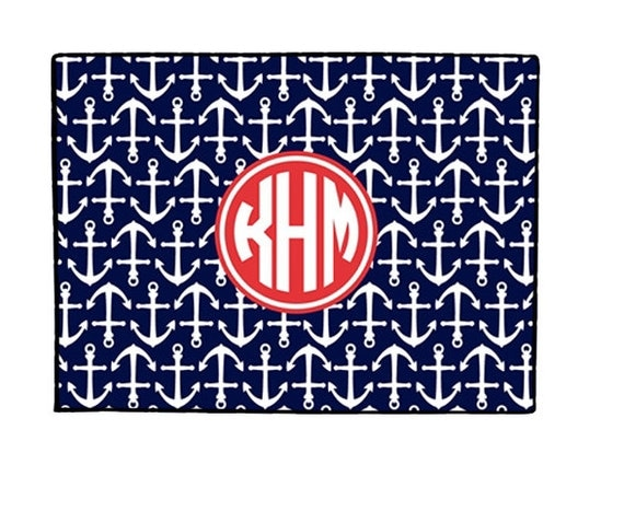 Monogrammed Gifts Door Mat Doormat Nautical Anchors Personalized Welcome Mat Monogrammed Doormat Door Mat Personalized Wedding Gift