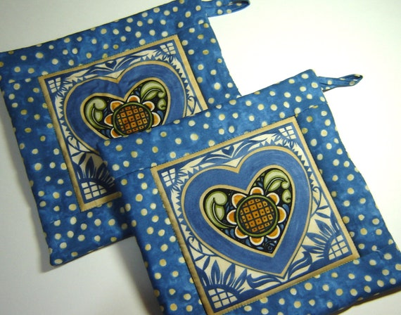 Quilted Potholders (Pair) Blue Hearts