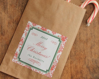 24 Holiday Gift Bags // Holiday Favor Bags with Personalized Damask Labels  - candy buffet bags, holiday party favors,