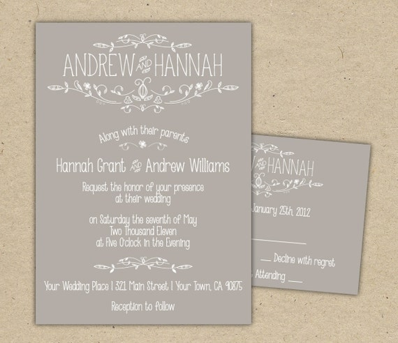 Vintage Wedding Invitation and RSVP- customize with your colors, diy. SAMPLE (1054)